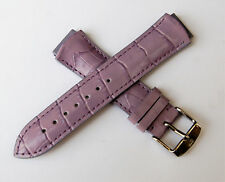 TechnoMarine Genuine Alligator Leather Watch Strap Band 17MM Shiny Lilac - 1034