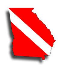 Georgia Scuba Diver Down Sticker Flag Car Window Bumper Decal GA State Cup boat