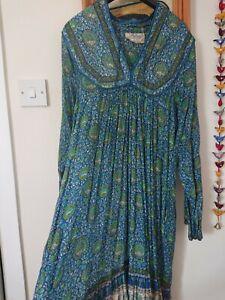 Original vintage Adini 1970s Indian cotton gauze floral block print dress M 10