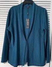Misook Textured Knit Jacket Blazer Large Teal