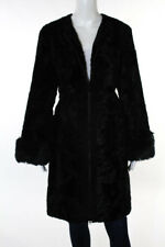 Laundry by Shelli Segal Black Faux Fur Textured Zip Front Coat Size Extra Large