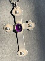 """Artist Signed Sterling Silver Amethyst Cross  Pendant Necklace 20"""" Rope Chain"""