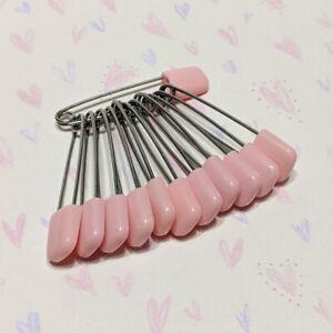 Baby Diaper Pins Safety Pin Lock Cloth Locking Clip Light Pink 12 Pcs
