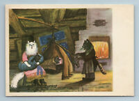 1958 CAT FAMILY and Kittens in House Fireplace by Marshak Soviet USSR Postcard