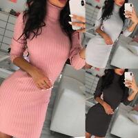 Women Long Sleeve Turtleneck Jumper Dress Bodycon Dress Slim Fit Knit Mini Dress