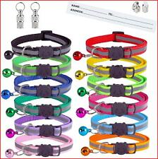 14 Pack Reflective Cats Collars Kitten Collar Quick Release Buckle Bell Pet Cat