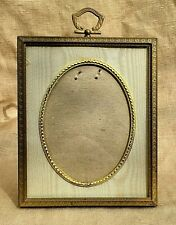 Small, Antique Gilt Brass Standing Easel Picture Frame Oval Window