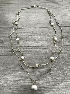 925 Sterling Silver Two Strand Necklace W/Pearls