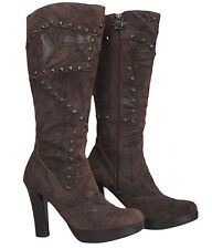 MARK NASON SIREN Womens Studded Boots Suede Brown Size 8