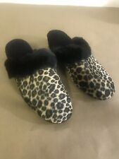 A1 Slippers Leopard Black Faux Trim Leather Sole Size 8 New Slides