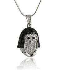 Penguin Necklace - 925 Sterling Silver - Black White CZ Stones Pendant Bird NEW