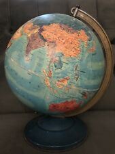 "Vintage 1949 REPLOGLE Three-D Edition 12"" Diameter World Globe On Metal Base"
