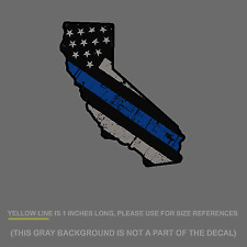"""Cali Thin Blue Line Sticker Decal -  Police California US Flag Distressed 5"""""""