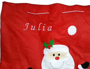 Personalised embroidered christmas santa sack with santa, 58x48cm, any name