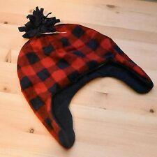 the children's place Kid Boys Buffalo red Plaid Pom Pom fleece winter Hat