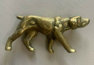 Vintage Solid Brass Hunting Dog ~ Pointer ~ Figurine / Ornament / Paperweight