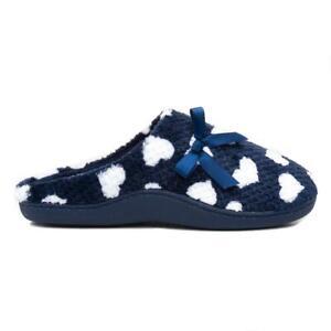 The Slipper Company Womens Navy Heart Mule Slippers Size UK 3,4,5,6,7,8
