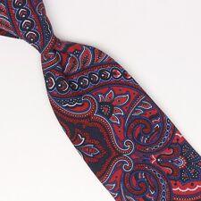 00a5103088b4 John G Hardy Mens Cotton Necktie Dark Red Blue White Paisley Print Tie Italy