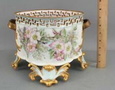 Antique Victorian Hand Painted French Porcelain Footed Center Bowl Jardiniere