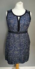 SIZE 18 Ladies DEBENHAMS summer navy patterned linen blend shift dress (A116)