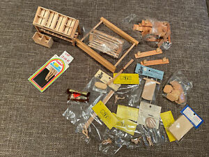 dollhouse miniatures lot of wooden Items And Wood Pcs,Stand, Bench, Vintage New