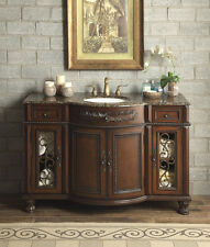 "New 52"" Baltic Brown Granite Top Vanity Bathroom Lavatory Cabinet Single Sink"