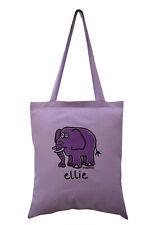 NEW TOTE BAG: ELLIE elephant, Lilac, 100% cotton