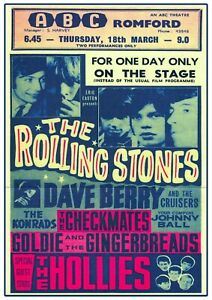 The Rolling Stones Romford Concert Poster Wall Art  Vintage Picture Repro 1960s