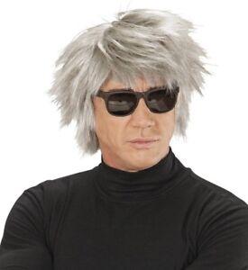 Mens Grey Zombie Wig Horror Halloween Fancy Dress Andy Warhol Spooky Scary Ghost