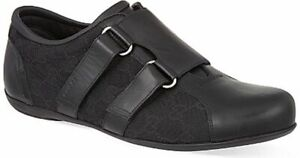 NEW Gucci Men's Black Leather Velcro loafer canvas GG 10 G / 11 US