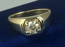 GIA CERTIFIED.90 CT Men's Gold Solitaire Genuine Earth Mined Diamond Ring - 14KT