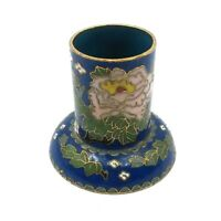 Cloisonne Candle Holder Vintage Enamel Chinese Candlestick Flowers On Blue