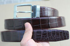 Brown Genuine Alligator Crocodile Belly Belt Skin Leather Men's