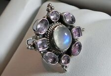 Fab! 11g sterling silver 925 full HM DP India amethyst moonstone ring K-K.5(5.5)