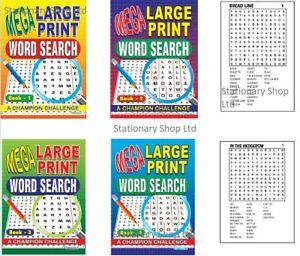 A4 Martello Squiggle Mega Large Print Word Search, Books 1-4 CHILDREN FUN