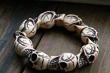 Women Men Unisex Tribal Gothic Halloween Skull Skeleton Bracelet Wristband band