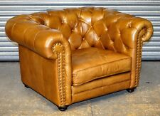 CHESTERFIELD LOVESEAT IN MEDIUM BROWN LEATHER RRP £1,649