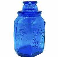"Vtg Wheaton Glass Embossed Design Blue 6 Sided Diamond Pattern Canister Jar 10"""