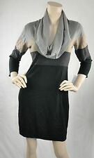 Connected NWT Cowl Neck 3/4 Sleeve Casual Sweater Dress Gray Black Size M $79