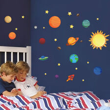 Nine planets solar system universe Wall Decals Vinyl Mural Kids Room Decor UK