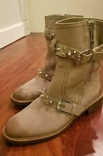 Sam Edelman Tan Leather-Spiked Moto Boot-Adele Size 8.5- $200 New