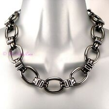 Chunky Hematite Silver Grey Rhodium Pltd Heavy Retro Wag Feature Choker Necklace