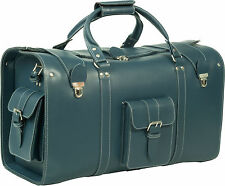HIDEONLINE DARK BLUE VINTAGE THICK REAL LEATHER HOLDALL / DUFFLE / CABIN BAG