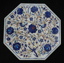 """12"""" Marble Coffee Table Top Lapis Peacoak Gem Inlaid Marquetry Floral Art Decor"""
