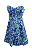 New womens ladies  blue bird print  dress size 8 -14