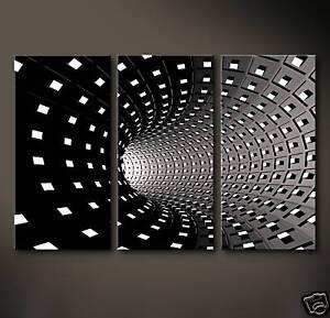 TEMPS Leinwand Bild Schwarz Weiß Grau Modern Deko Druck Abstrakt 3D Wandbild XL