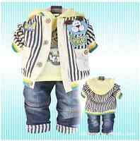 Toddler Boy 3 PC Outfit Set Dog Suit Costumes Size 1-4 Years Jacket+Top+Jeans!