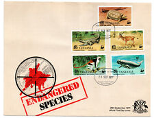 TANZANIA 1977 ENDANGERED SPECIES ILLUSTRATED  FDC Full Set 5 values to 5/-.
