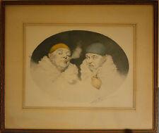 Original Armand Henrion Signed Etching 2 Clowns Smoking, Original Frame! Rare!