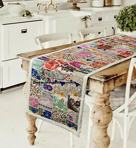 Indian Cotton Runner Patchwork Wall Hanging Embroidered Bar Table Runner Decor